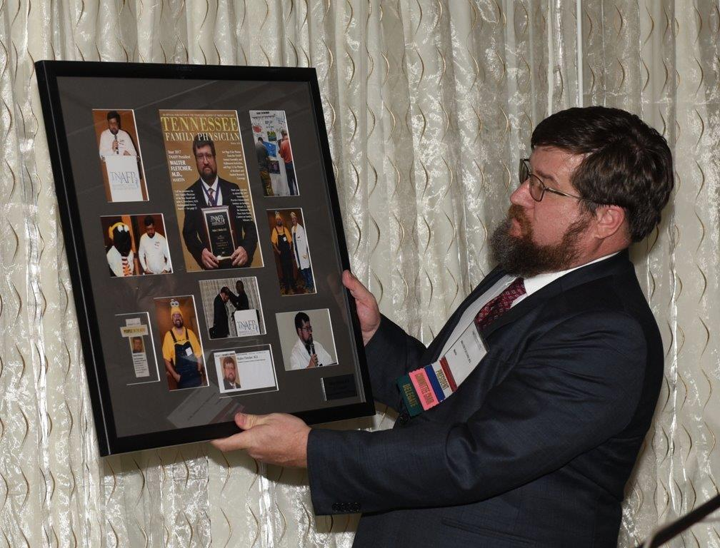 Fletcher receving framed My Year as Prez