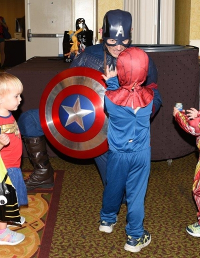 Captain America with little spiderman