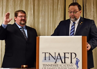 Jerry Wilson M.D. 2020 TNAFP President being installed by Windel Stracener M.D.